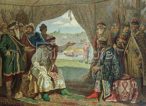 Alexej Kivschenko: Die Zusammenkunft von Prinzen mit dem Grossfürsten Wladimir in Dolob 1103. 1880