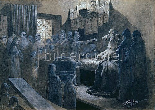 Mikhail Klodt: Iwan dem Schrecklichen erscheinen die Geister seiner Opfer.