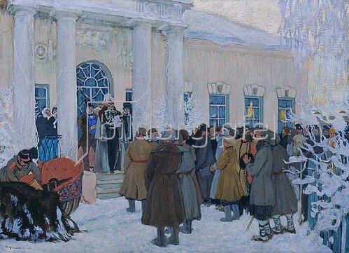Boris Michailowitsch Kustodiev: Die Verlesung des Manifestes im Jahre 1861. 1908/1909.