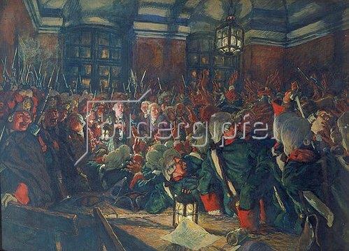 Eugen E Lansere: Die Thronbesteigung der Zarin Elisabeth am 25. November 1741. 1911.