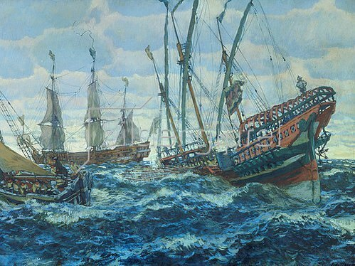 Eugen E Lansere: Schiffe des Zaren Peters des Grossen. 1911.