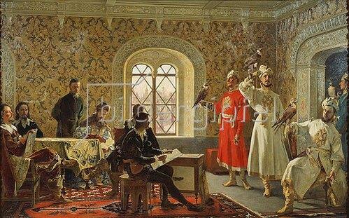 Alexander Litowtschenko: Der ital. Botschafter Calvucci führt dem Zaren Alexej Jagdfalken vor. 1889
