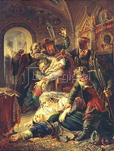 Konstantin Jegor Makovskij: Gedungene Mörder töten den Sohn des Zaren Boris Godunov. 1862.