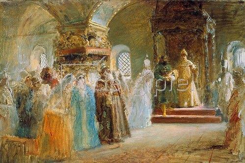 Konstantin Jegor Makovskij: Die Brautsuche des Zaren Alexej Michailowitsch. 1887.