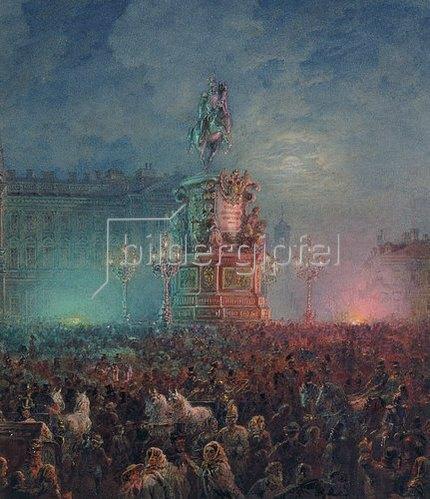 Wassily Sadovnikov: Die Enthüllung des Denkmals Nikolaus I. in St. Petersburg. 1857.