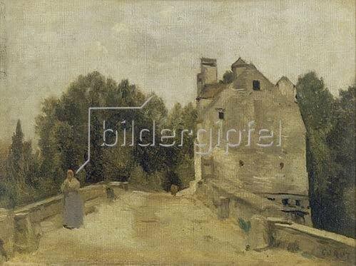 Jean-Baptiste Camille Corot: Brücke und Mühle in Mantes (Mantes, l`entree du pont). Um 1860/1865.