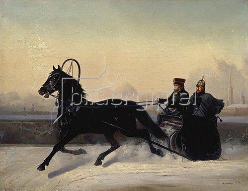 Nikolai Jegorow Sswertschkov: Zar Nikolaus I. bei der Schlittenfahrt. 1895.