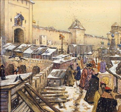 Apolinarij Wasnezow: Buchläden auf der Spaskij-Brücke in Moskau im 17. Jahrhundert.