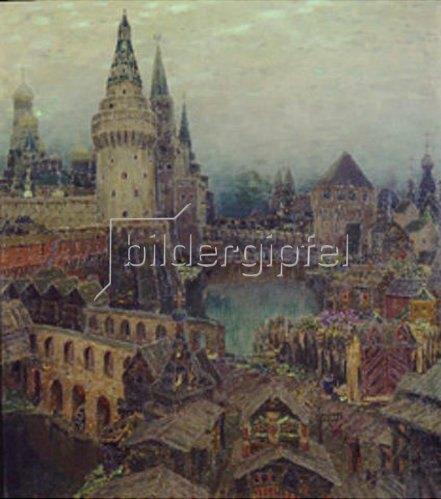 Apolinarij Wasnezow: Moskau im 17. Jahrhundert. Abenddämmerung am Auferstehungstor. 1900.