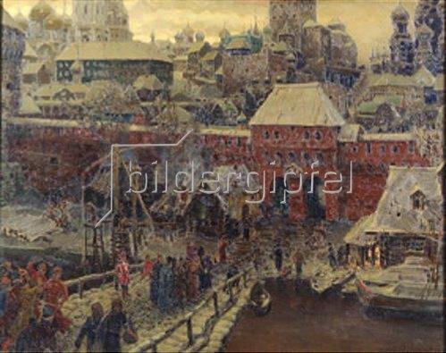 Apolinarij Wasnezow: Moskau im 17. Jahrhundert. Die Moskworetzki-Brücke und das Wassertor. 1900.