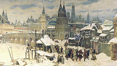 Apolinarij Wasnezow: Die Wseswjatskij-Brücke in Moskau, Ende des 17. Jahrhunderts. 1901.
