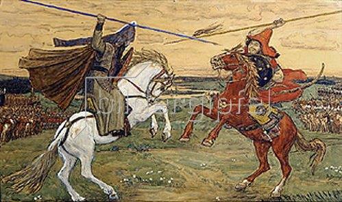 Viktor Wasnezow: Peresvet und Tschelubey kämpfen auf dem Kulikov-Schlachtfeld 1380. 1914