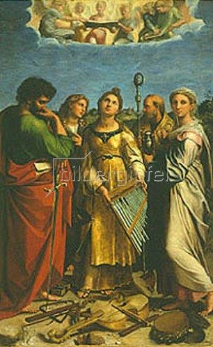 Raffael (Raffaello Sanzio): Die hl. Cäcilia mit den Hl. Paulus Johannes Ev., Augustinus und Magdalena.