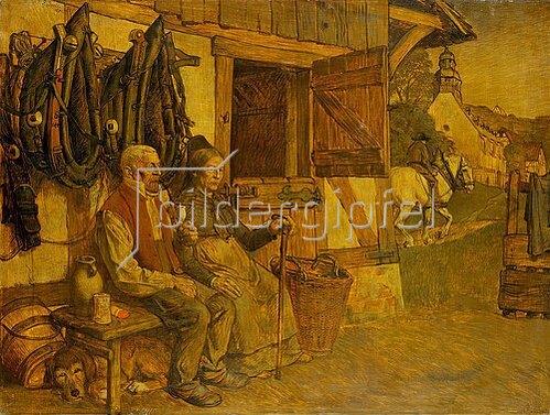 Karl Friedrich (Fritz) Boehle: Feierabend. Bauernpaar vor dem Pferdestall.