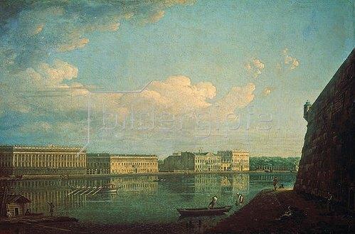 Fjodor Jakowlewitsch Aleksejew: Blick von der St.Peter-und-Paul-Festung zum Palast-Kai, St.Petersburg, 1819