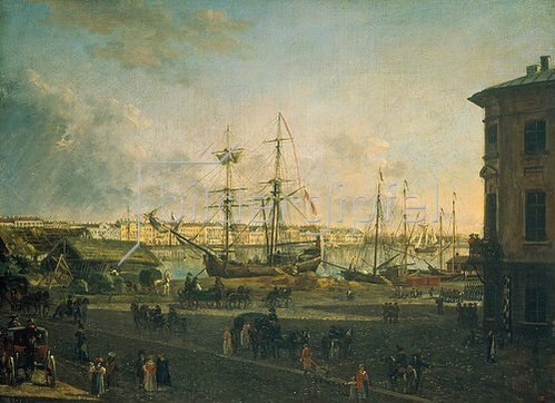 Fjodor Jakowlewitsch Aleksejew: Blick von der Wassiliewski-Insel zum Englischen Kai, St.Petersburg, 1790.