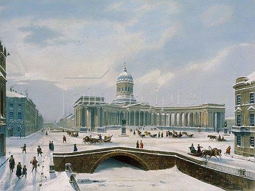 Jules Arnout: Die Kazan-Kathedrale in St. Petersburg. 1840-er Jahre