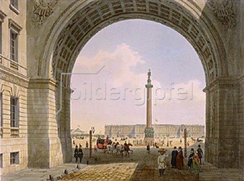 Jules Arnout: Blick aus dem Torbogen des Armee-Hauptquartiers auf den Palastplatz, 1840-er Jah