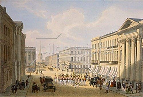 Jules Arnout: Die Polizeibrücke und der Newsky-Prospekt in St. Petersburg. 1840-er Jahre