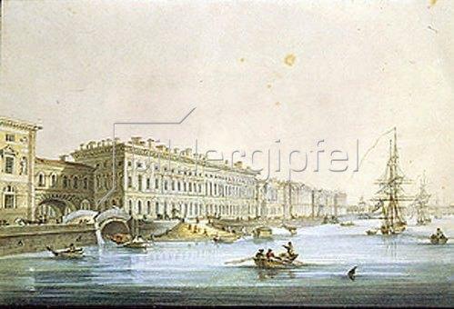 Karl Petrowitsch Beggrow: Blick auf das Palast-Ufer in St. Petersburg.