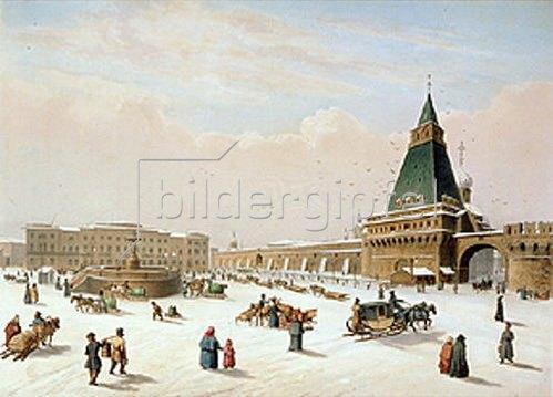Louis P. Alphonse Bichebois: Der Lubjanskaja-Platz in Moskau. Ausgeführt mit P.M. Roussel, 1830.