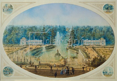 J Charlemagne: Blick auf den Marly-Wasserfall in Petershof von der Terrasse aus. 1856