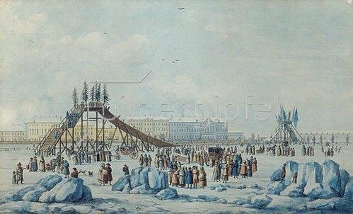 M.Ph Damam-Demartre: Rutschbahn an der winterlichen Newa bei Schrotvetide. Um 1810/1820
