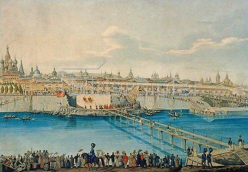 Carl Hampeln: Der Bau der Moskvoretsky-Brücke in Moskau. 1830