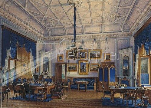 Edouard Hau: Das Blaue Studio von Zar Alexander II. im landwirtschaftl. Palast. 1860.