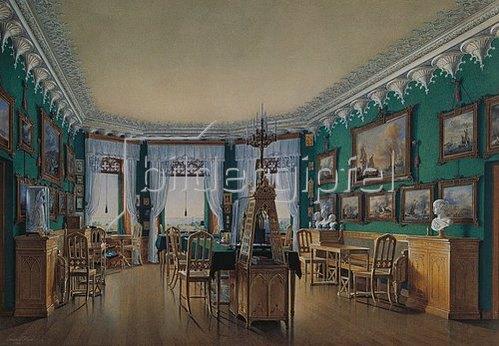 Edouard Hau: Das Studio von Zar Nikolaus I. im Landhaus von Schloss Peterhof. 1855