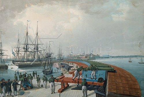 Edouard Hau: Reval (Tallinn), Hafen und Stellung der russ. Küstenartillerie. 1817.