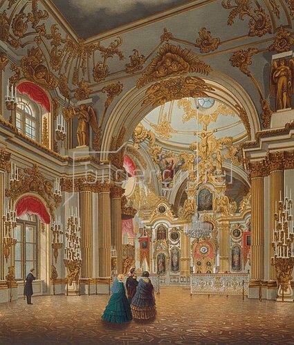 Wassily Sadovnikov: Inneres der Grossen Kirche des Winterpalastes in St.Petersburg.