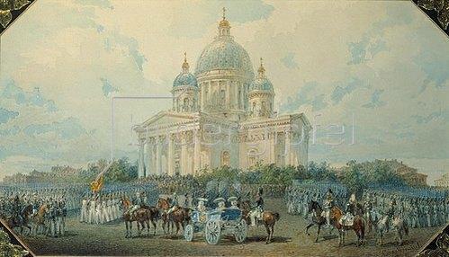 Wassily Sadovnikov: Die Dreieinigkeits-Kathedrale an der Ismailowski-Avenue. 1850.