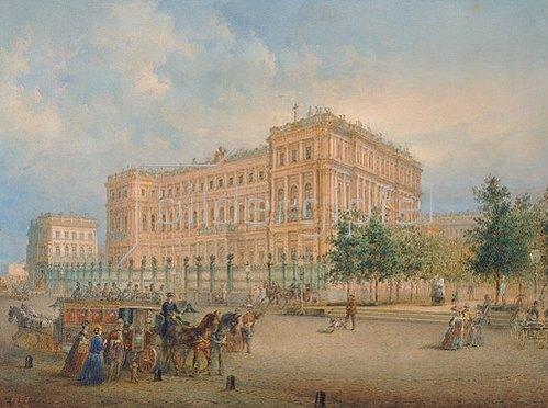 Wassily Sadovnikov: Blick zum Nikolaus-Palast in St.Petersb. mit Pferdeomnibus im Vordergrund. 1868