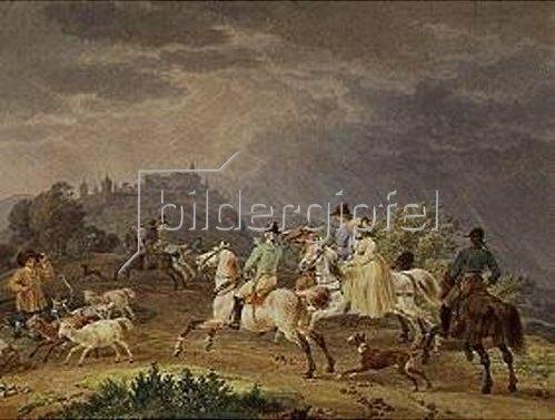 Wilhelm von Kobell: Heimkehr einer Jagdgesellschaft vor einem Gewitter. 1798.