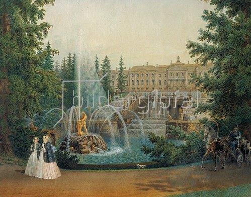 Wassily Sadovnikov: Die Marlow-Kaskade in den unteren Gärten in Peterhof. 1830/1860