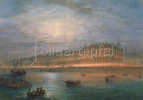 Wassily Sadovnikov: Blick auf den beleuchteten Winterpalast in St. Petersburg.