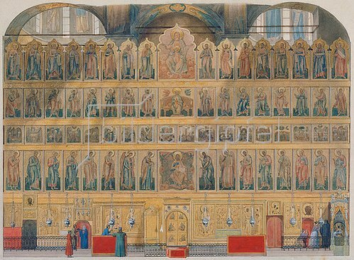Fjodor Grigorjewitsch Solnzev: Die Ikonostase der Maria-Himmelfahrt-Kathedrale im Moskauer Kreml.