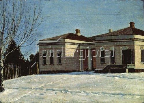 """Grigorij Soroka: N. Miljukov's Landsitz """"Ostrovski"""" im Winter."""