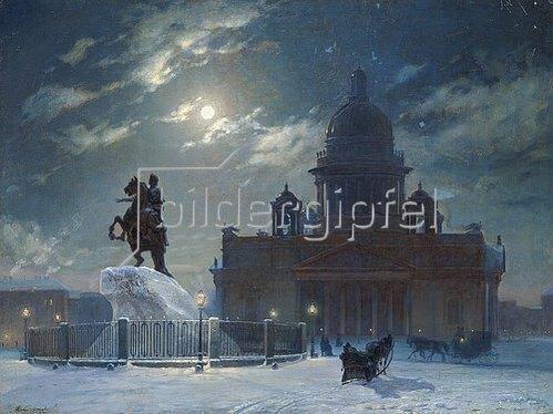 Wassilij Iwanowitsch Surikow: St.Petersburg im Winter. Das Denkmal Peters des Grossen. 1870