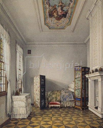 Konstantin Ukhtomsky: Schlafzimmer Zar Peters I. im Palast Monplaisir in Peterhof.
