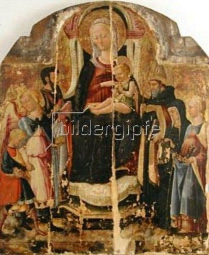 Neroccio di Bartolomeo Landi: Madonna mit Kind und den Hll. Sebastian und Katharina. Um 1496
