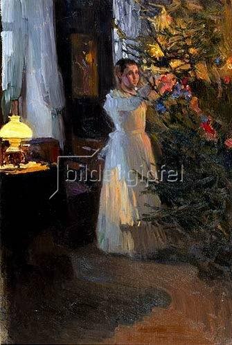 Alexej Korin: Mädchen am Weihnachtsbaum. 1910.