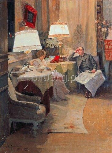 Jakov Kalinichenko: Gespräch im abendlichen Interieur. 1910