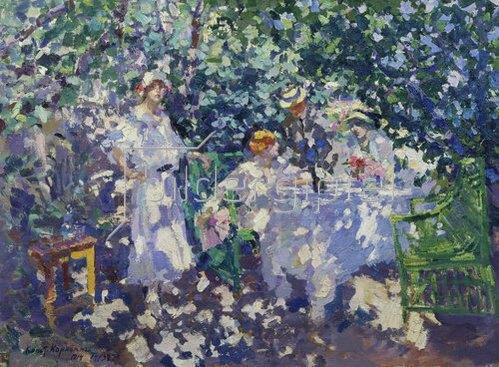 Alexejew. Konstantin Korovin: Kleine Gesellschaft in blühendem Garten. 1914