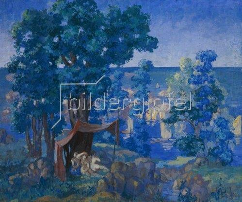 Anatoly Arapov: Badende unter einem Zeltdach am See. 1913.