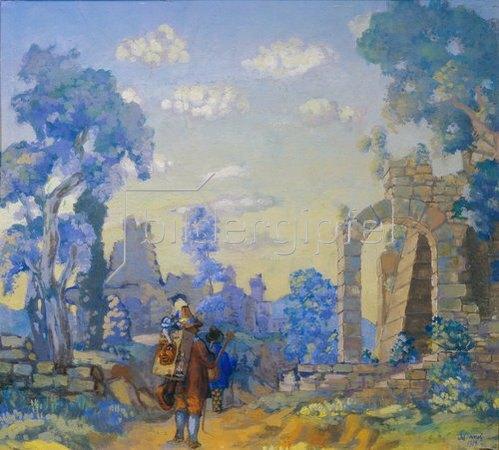 Anatoly Arapov: Italienische Musikanten an einer Ruine. 1914