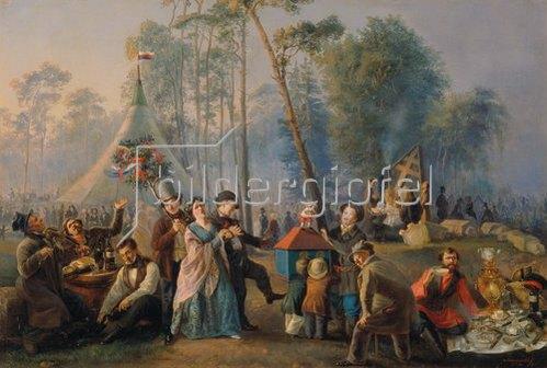 Wassilij Astrachov: Volksbelustigung in Marjina-Roschja in Moskau. 1852.