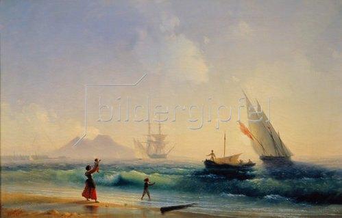 Konstant.Iwan Aiwassowskij: Begrüssung der rückkehrenden Fischer in der Bucht von Neapel. 1842.