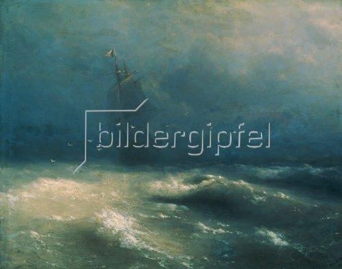Konstant.Iwan Aiwassowskij: Segelschiff auf stürmischer See bei Nizza. 1885.